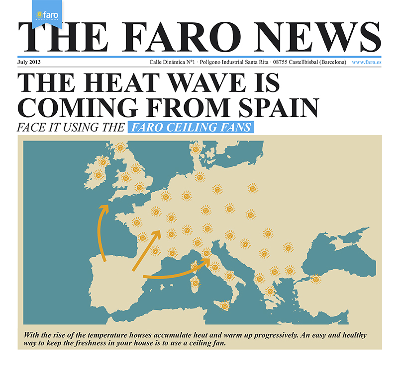 The heat wave is coming from Spain face it using the Faro ceiling fans.